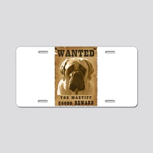 """Wanted"" Mastiff Aluminum License Plate"
