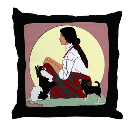 Chihuahuas Lady Moon in Red Throw Pillow