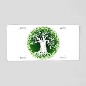 Green2 Celtic Tree Aluminum License Plate