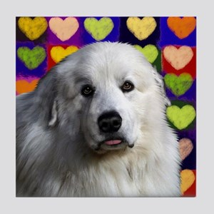 GREAT PYRENEES Dog Love Tile Coaster
