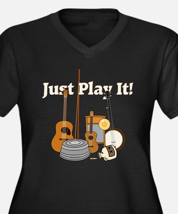 Just Play It! Women's Plus Size V-Neck Dark T-Shir