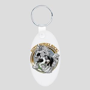 Gypsy Horses Rock Aluminum Oval Keychain