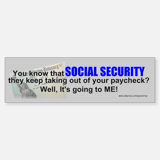 Social Security Bumper Bumper Bumper Sticker