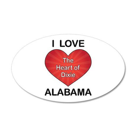 I Love Alabama 22x14 Oval Wall Peel