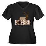 THE BUCK Women's Plus Size V-Neck Dark T-Shirt