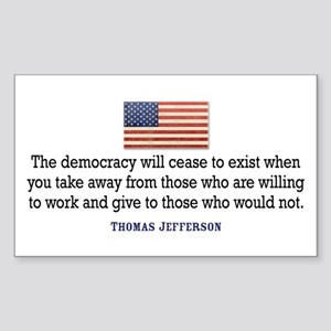 Quote Democracy Sticker (Rectangle)