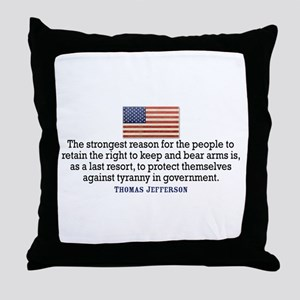 Jefferson 2nd Amendment Throw Pillow