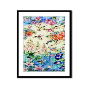 Hummingbirds and Flowers Framed Panel Print