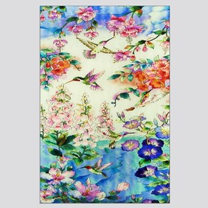 Hummingbird and Flowers Large Poster