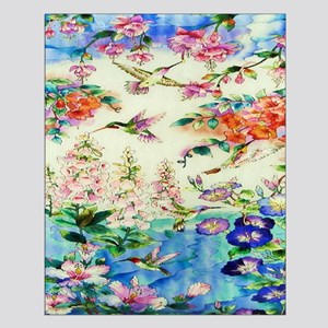 Hummingbird and Flowers Small Poster