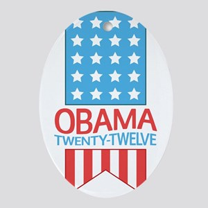Obama Twenty Twelve Flag Ornament (Oval)