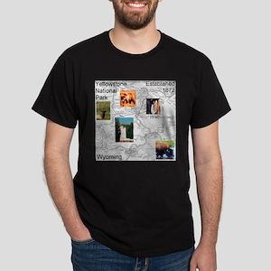 Yellowstone NP Illustrated Ma Dark T-Shirt