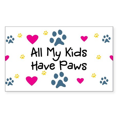All My Kids/Children Have Paws Sticker (Rectangle)