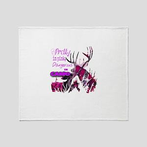 pretty in pink dangerous in camo Throw Blanket
