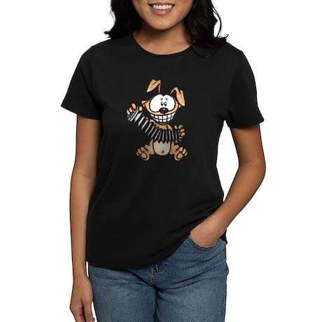 Cartoon Dog Playing Accordion Women's Dark T-Shirt