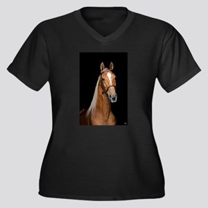 Sorrel Horse Women's Plus Size V-Neck Dark T-Shirt