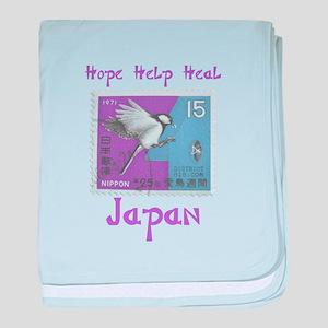 VINTAGE JAPANESE BIRD STAMP baby blanket