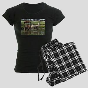 Llamas in a Pond Women's Dark Pajamas