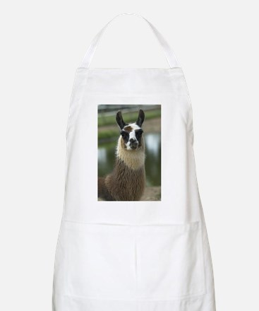 Brown and White Llama Apron