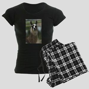 Brown and White Llama Women's Dark Pajamas