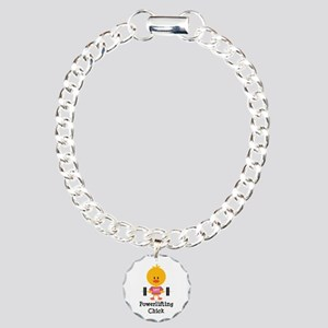 Powerlifting Chick Charm Bracelet, One Charm
