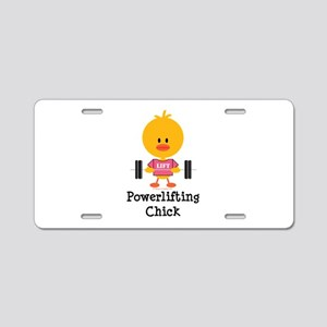 Powerlifting Chick Aluminum License Plate