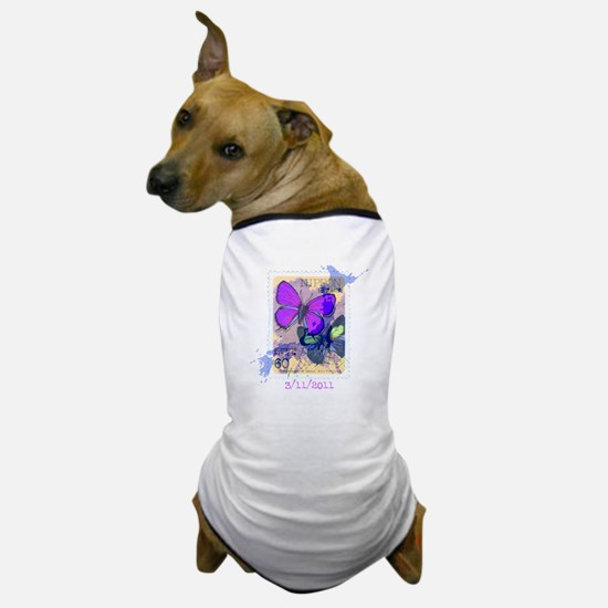 JAPANESE VINTAGE BUTTERFLY STAMP Dog T-Shirt