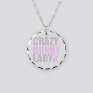 CRAZY BUNNY LADY Necklace Circle Charm