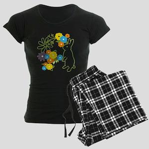 flower bunny Women's Dark Pajamas