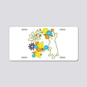 flower bunny Aluminum License Plate