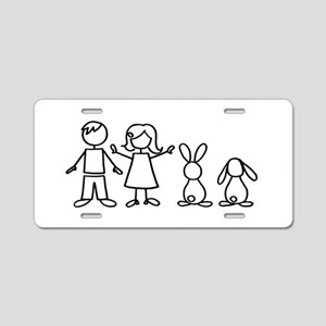2 bunnies family Aluminum License Plate