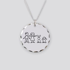 2 bunnies family Necklace Circle Charm