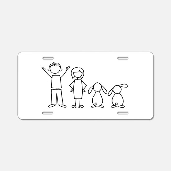 2 lop bunnies family Aluminum License Plate