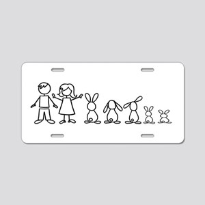 5 bunnies family Aluminum License Plate