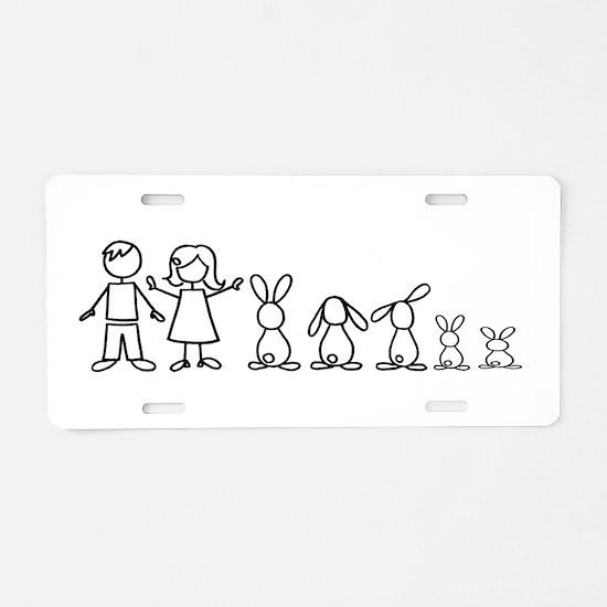 5 bunnies family Aluminum License Plate