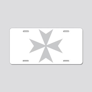 Silver Maltese Cross Aluminum License Plate