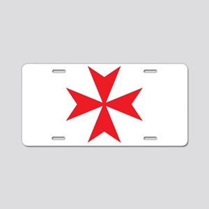Red Maltese Cross Aluminum License Plate