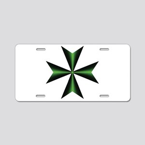 Green Maltese Cross Aluminum License Plate