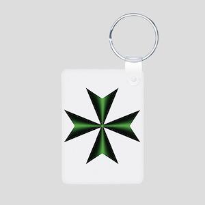 Green Maltese Cross Aluminum Photo Keychain