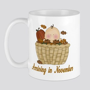 Baby Arriving In November Mug