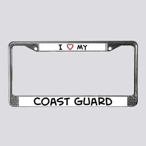 I Love Coast Guard License Plate Frame