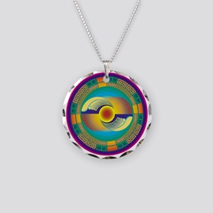 Mayan Crop Circle Necklace Circle Charm