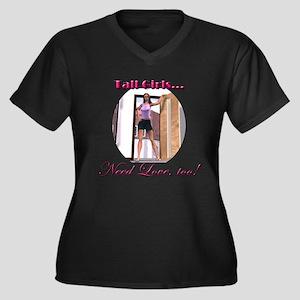 Need Love Women's Plus Size V-Neck Dark T-Shirt
