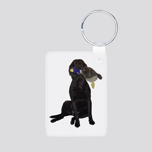 lab with duck Aluminum Photo Keychain