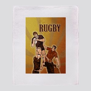 rugby player line out Throw Blanket