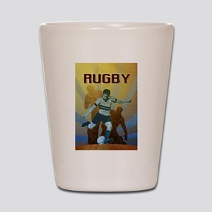 rugby player kicking Shot Glass