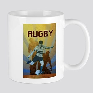 rugby player kicking Mug