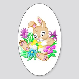 Bunny With Flowers Sticker (Oval)