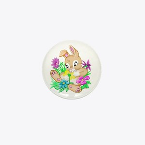 Bunny With Flowers Mini Button