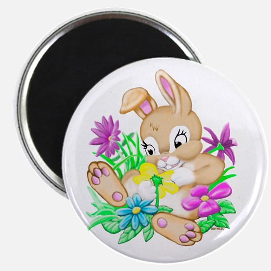"""Bunny With Flowers 2.25"""" Magnet (100 pack)"""